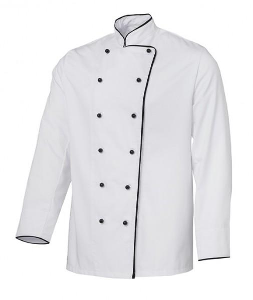Kochjacke Bäckerjacke weiß mit schwarzem Paspel