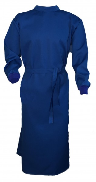 Wickelmantel 65% Polyester/35% Baumwolle blau mit Druckknöpfen
