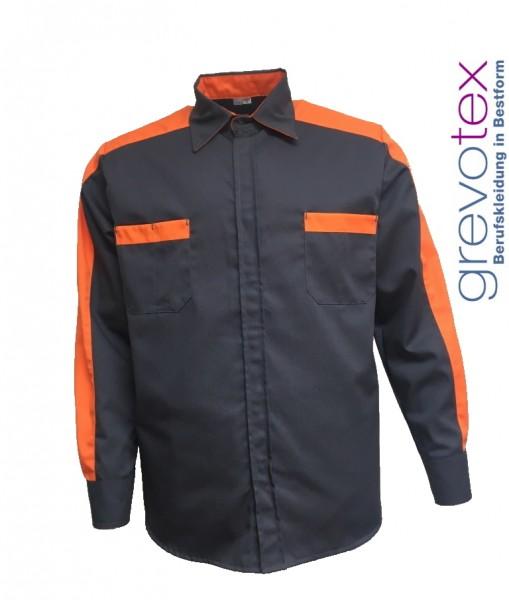 Herren Arbeitshemd Berufshemd dunkelgrau orange