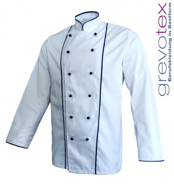 Kochjacke Bäckerjacke weiß langarm mit blauer Paspel