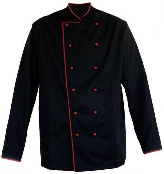 Kochjacke Bäckerjacke schwarz mit rotem Paspel, inkl. Kugelknöpfe