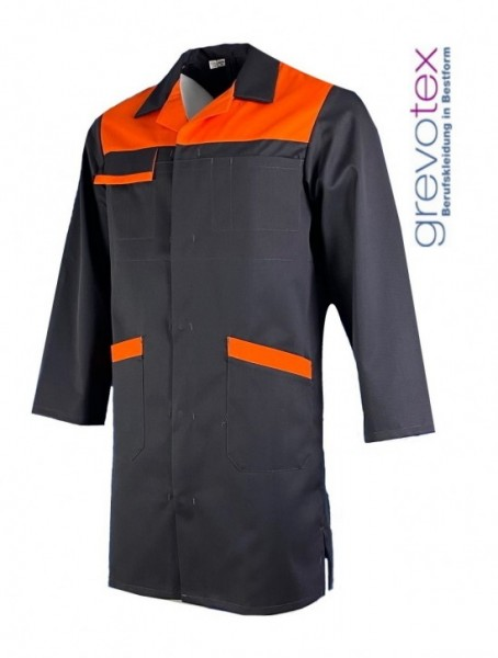 Berufsmantel Arbeitsmantel Berufskittel Herren dunkelgrau orange