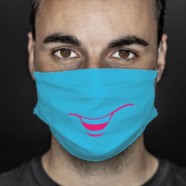 Mund- und Nasenabdeckung türkis smile