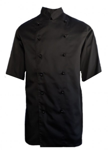Kochjacke Bäckerjacke schwarz, kurzarm, Satin, inkl. Kugelknöpfe