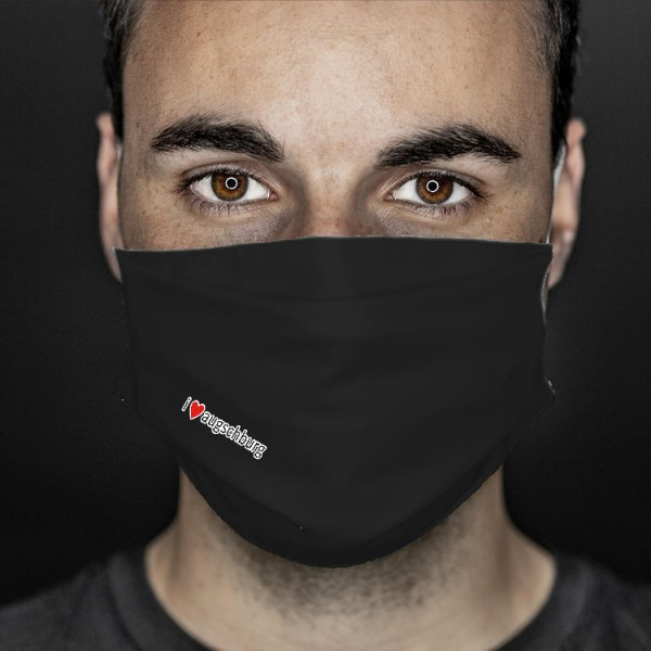 Mund- und Nasenabdeckung schwarz i love augschburg