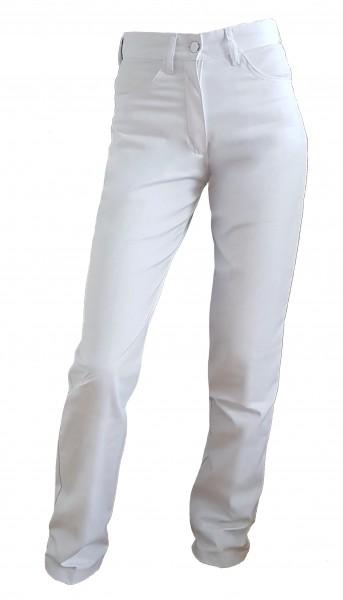 Damen Kochhose Kellnerhose Jeans Stretch weiß