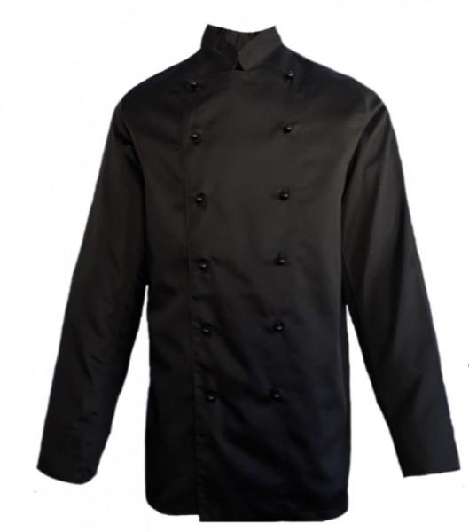 Kochjacke Bäckerjacke Herren langarm schwarz Satin, inkl. Kugelknöpfe