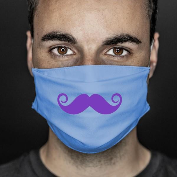 Mund- und Nasenabdeckung blau Bart