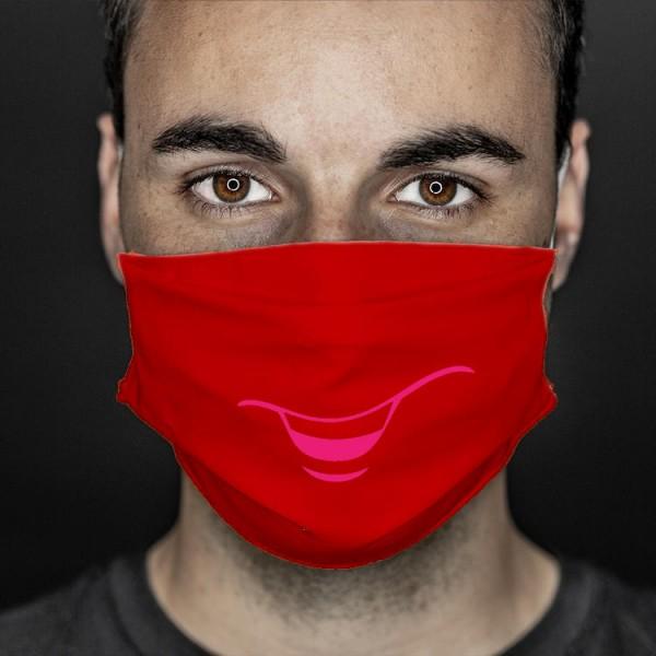 Mund- und Nasenabdeckung rot smile