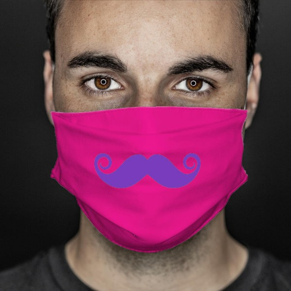 Mund- und Nasenabdeckung pink Bart