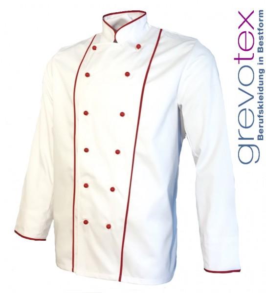 Kochjacke Bäckerjacke weiß langarm mit roter Paspel