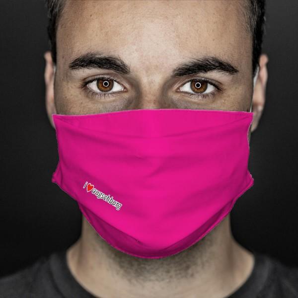 Mund- und Nasenabdeckung pink i love augschburg